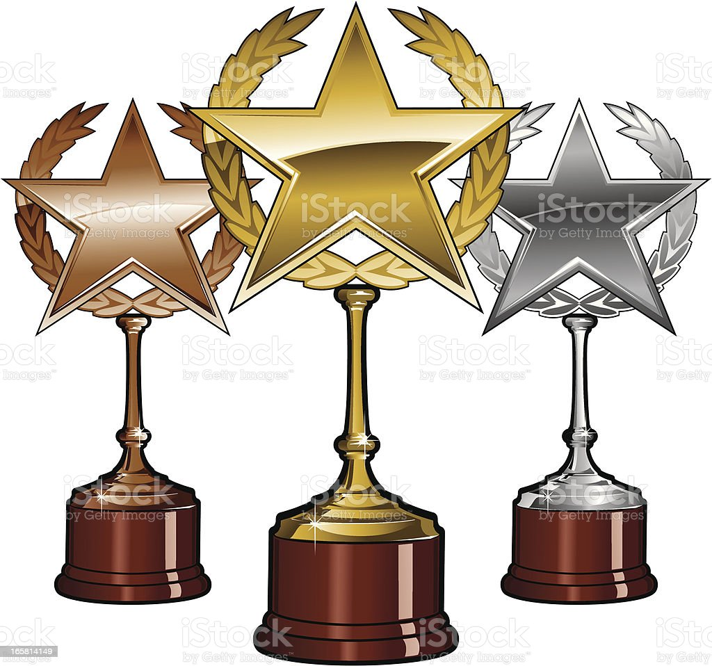 Golden Silver and Bronze Trophies royalty-free stock vector art