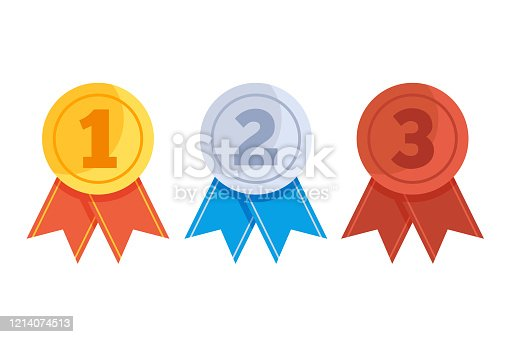 Golden silver bronze first second third place medal isolated set. Vector flat graphic design isolated