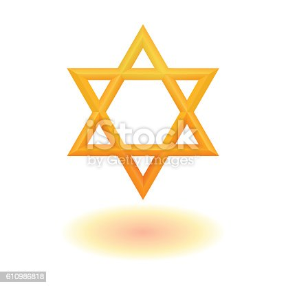 istock Golden six pointed star icon 610986818