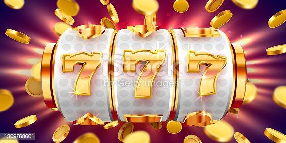 istock Golden slot machine wins the jackpot. 777 Big win concept. Casino jackpot. 1309768601
