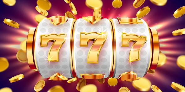 Golden slot machine wins the jackpot. 777 Big win concept. Casino jackpot.