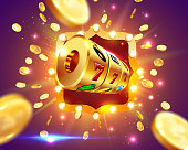 Golden slot machine wins the jackpot 777 on background of an explosion of coins and retro frame. Vector illustration