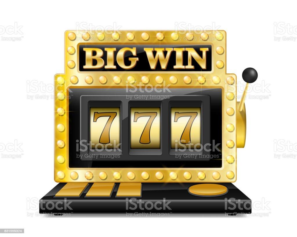 Machine à sous Golden remporte le jackpot. sept chanceux aux jeux de hasard jeu isolé sur fond blanc. Grand Casino gagner illustration vectorielle de machine à sous - Illustration vectorielle
