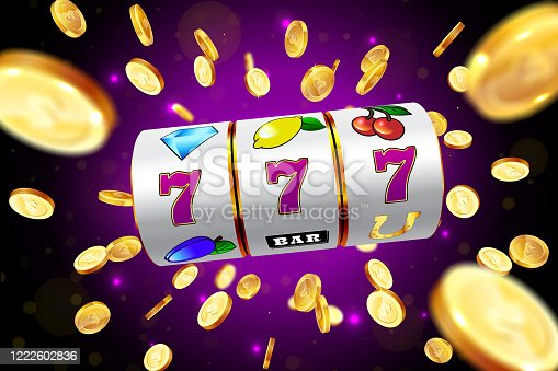 istock Golden slot machine wins the jackpot. 1222602836