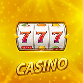 Golden slot machine wins the jackpot. Isolated on gold background . Vector illustration