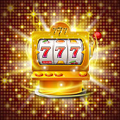 Golden slot machine wins the jackpot. Isolated on red background . Vector illustration