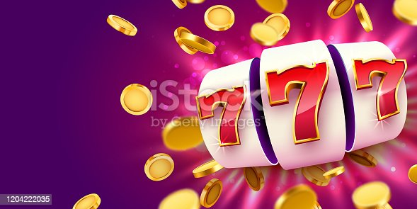 istock Golden slot machine with flying golden coins wins the jackpot. Big win concept. 1204222035