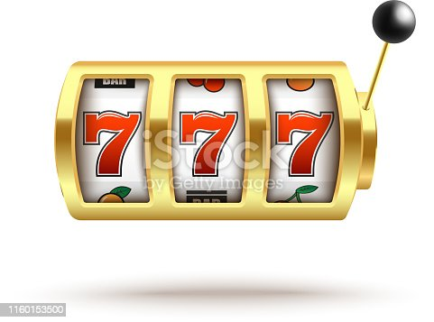 Golden slot machine with lucky three sevens jackpot in realistic style isolated on white background - vector illustration of casino gambling one arm bandit with winning combination 777.