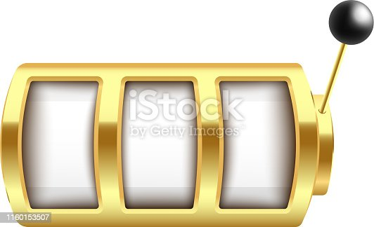 Golden slot machine with three blank spin elements and lever arm realistic style, vector illustration isolated on white background. 3d empty casino gambling machine with handle
