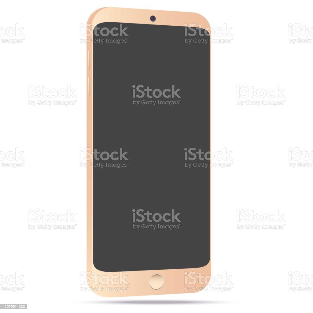 Golden smartphone mockup with blank screen. vector art illustration