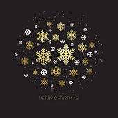 Golden snowflake on a dark background. Vector illustration