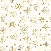 Golden snowflake pattern. Vector illustration.