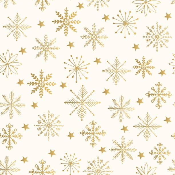golden snowflake pattern. vector illustration. - papier do pakowania stock illustrations