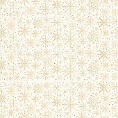 Golden snowflakes pattern. Christmas glitter background.