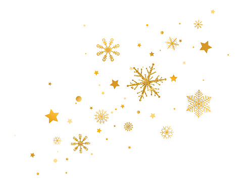 Golden snowflakes with stars border. Celebration long banner. Glitter gold snowflakes and snow on white background. Merry Christmas and Happy New Year design. Vector illustration