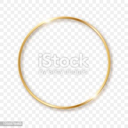 istock Golden sparkling circle on a transparent background in 3D format. Sparkling light effect. 1255578463