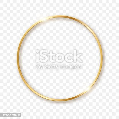 istock Golden sparkling circle on a transparent background in 3D format. Sparkling light effect. 1255578463