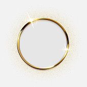 Golden sparkling ring with glitter isolated on white background. Vector luxury golden frame.