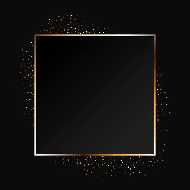stockillustraties, clipart, cartoons en iconen met gouden sprankelende ring met gouden glitter geïsoleerd op zwarte achtergrond. - elegantie