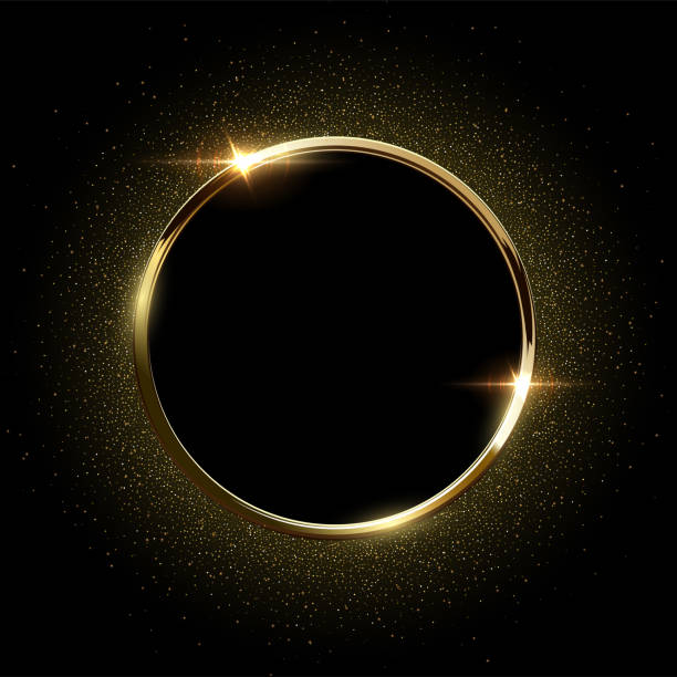 golden sparkling ring with golden glitter isolated on black background. vector golden frame. - gold stock illustrations