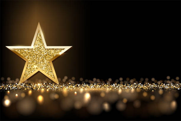 Golden sparkling star isolated on dark luxury horizontal background. Vector design element. Golden sparkling star isolated on dark luxury horizontal background. Vector design element celebration stock illustrations