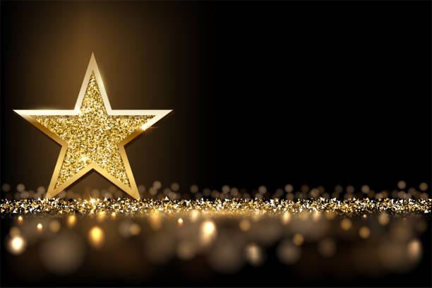 金色閃閃發光的星星孤立在黑暗的豪華水準背景。向量設計項目。 - celebration 幅插畫檔、美工圖案、卡通及圖標