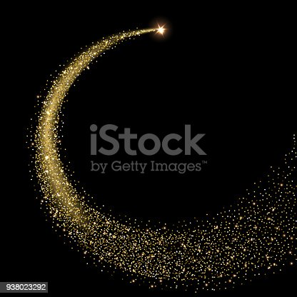 Golden sparkling star with stardust trail. Vector illustration.