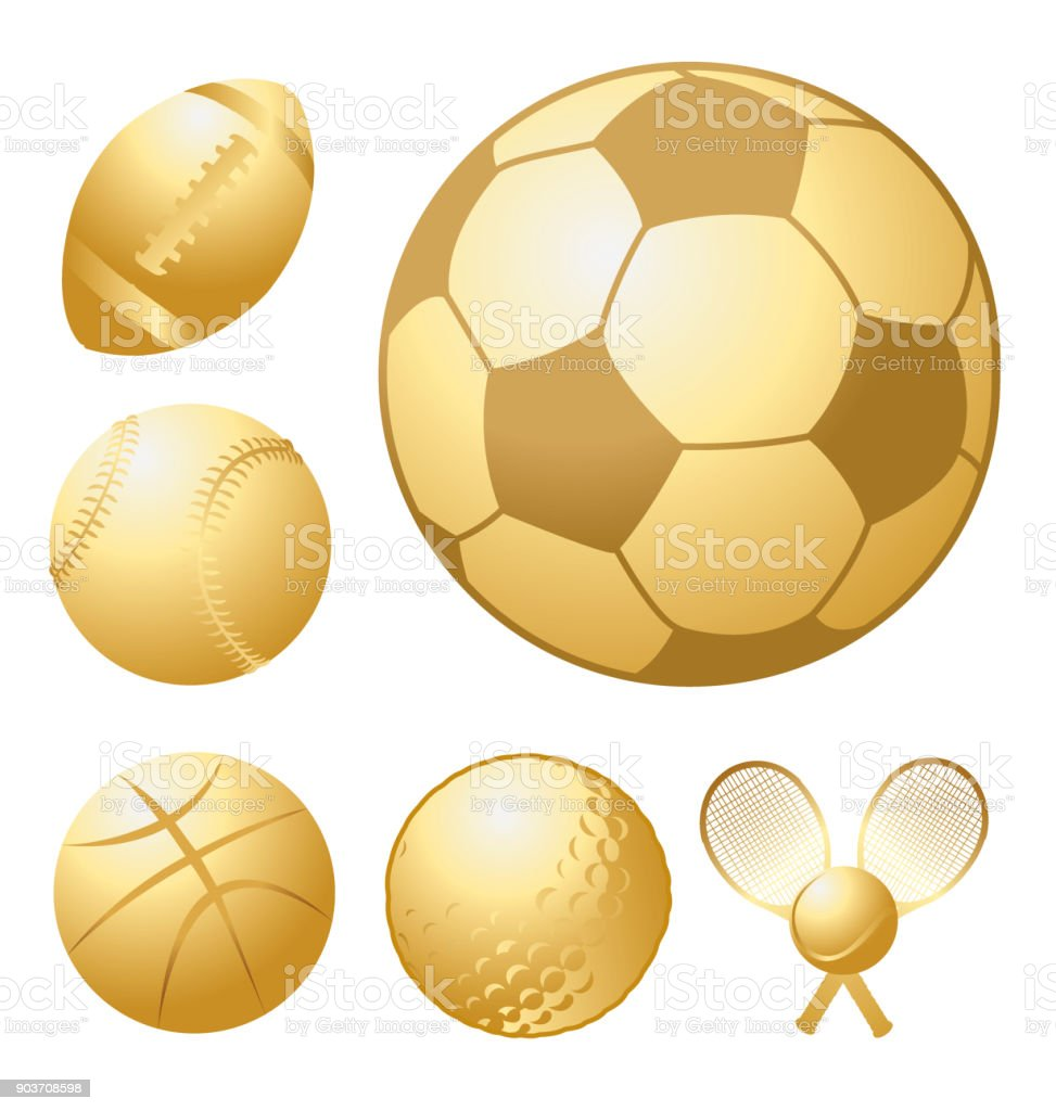 Group of golden sports balls. Great for achievement awards. Check out...