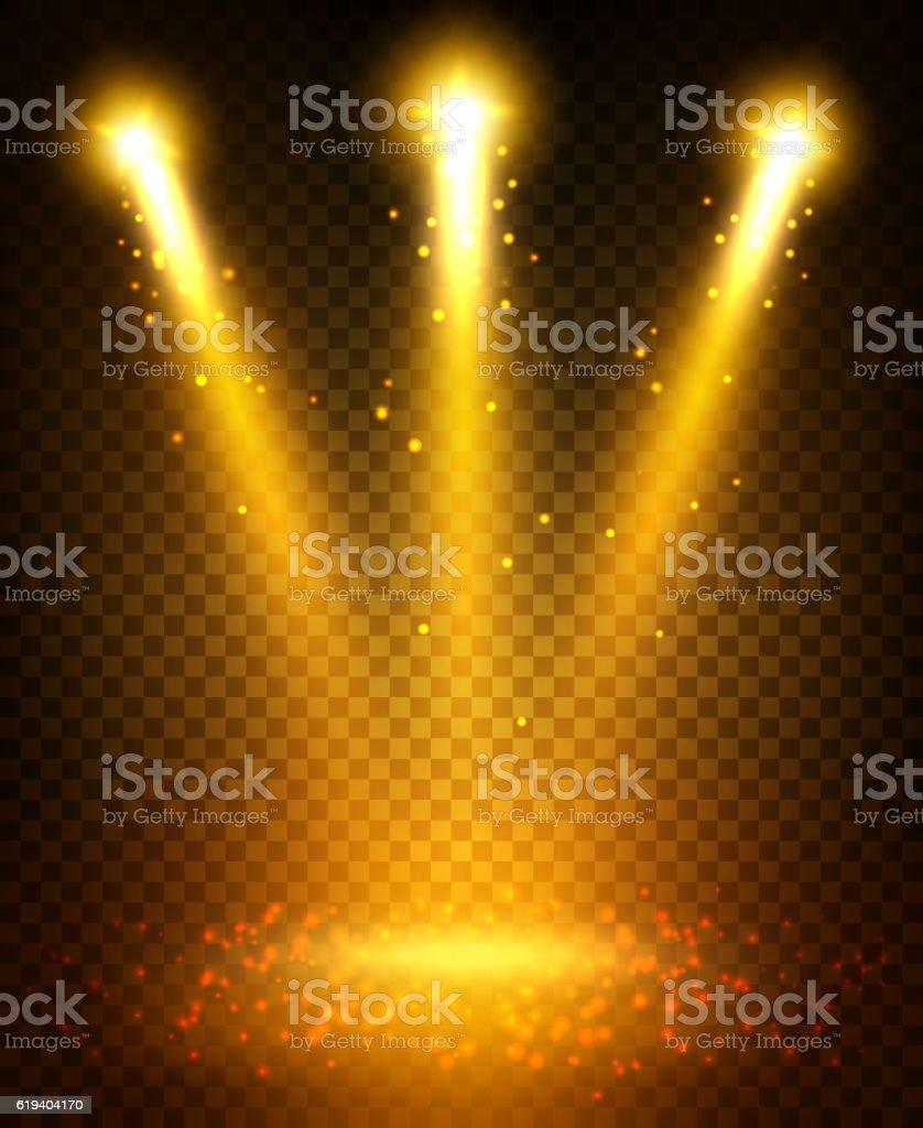 Golden spot light beams projection on floor vector art illustration