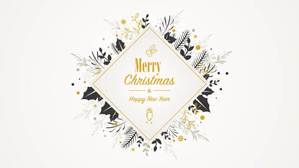 Golden Square Christmas Placard with text vector art illustration