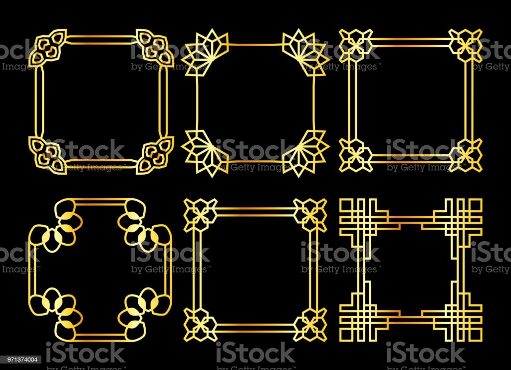 Golden square vektor asiatiska retro ram vektorkonstillustration