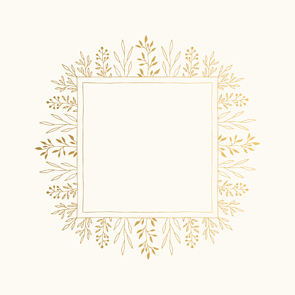 Golden squared frame with floral elements. Wedding invitation design. Vector isolated illustration.
