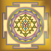 Vector illustration of the traditional Sri Yantra Mandala (sacred instrument), used in Hindu and Buddhist tantra traditions.