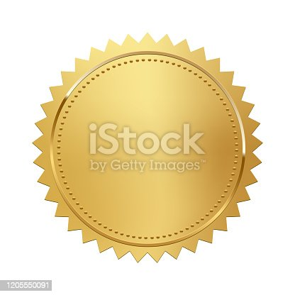 Golden stamp isolated on white background. Luxury seal. Vector design element