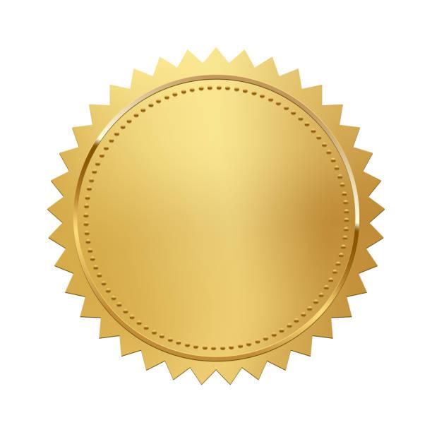 złoty znaczek wyizolowany na białym tle. luksusowa pieczęć. element projektu wektorowego. - pieczęć znaczek stock illustrations
