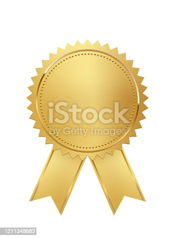 Golden stamp with ribbons isolated on white background. Luxury seal. Vector design element