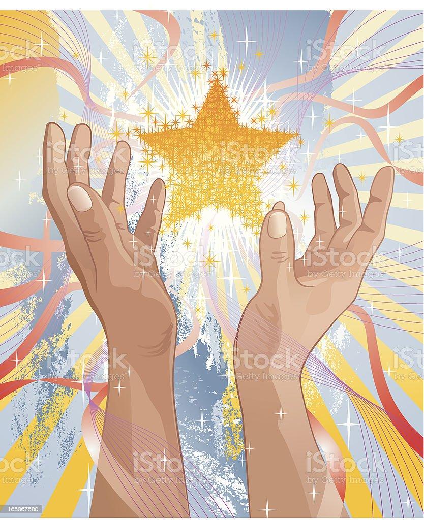 Golden Star Between Praising Hands Vector royalty-free stock vector art