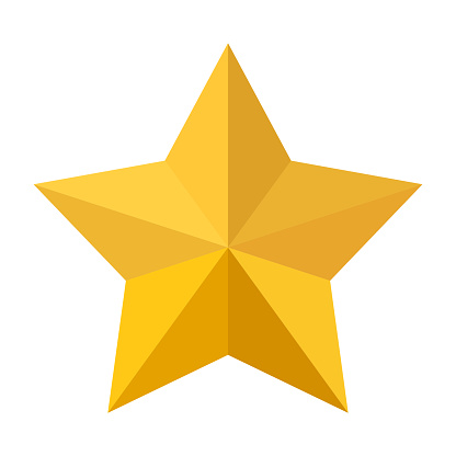 Golden star icon isolated on white background