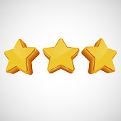 Golden star in different angles. Vector illustration