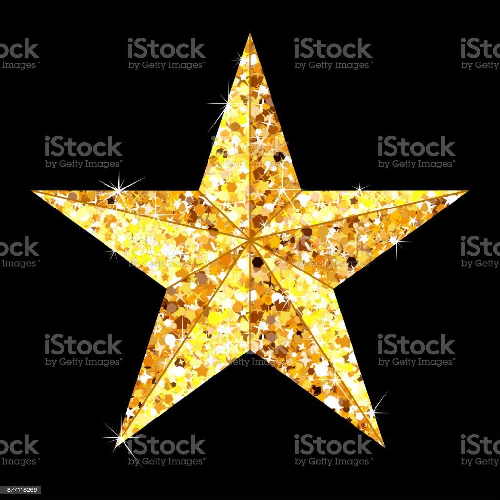 golden star on black vector art illustration