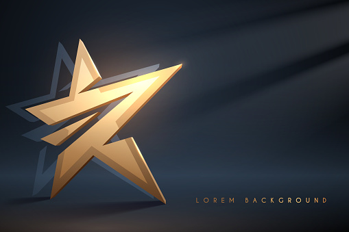 Golden star on dark background with light effect in vector