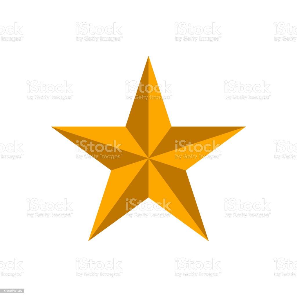 Estrella de oro sobre fondo blanco - ilustración de arte vectorial
