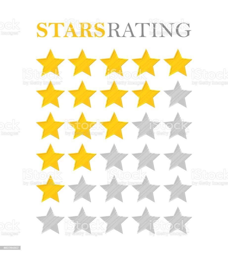 Golden star rating vector art illustration
