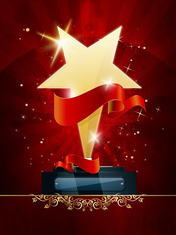 Golden Star Trophy with Grunge Background