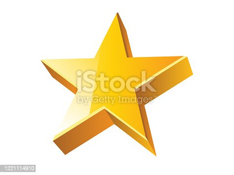 3D shiny golden star on white background. Vector illustration