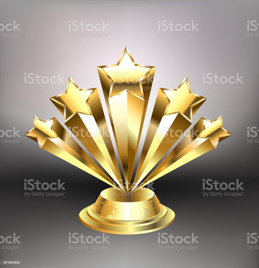 Golden stars award vector art illustration