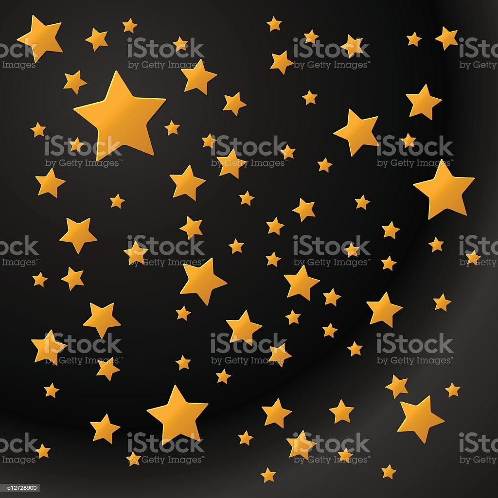 Golden Stars background vector art illustration