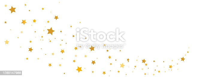 istock Golden stars composition on white background. Star trail shape. Glitter elegant design elements. Gold shooting stars. Magic decoration. Christmas texture. Vector illustration 1285147988