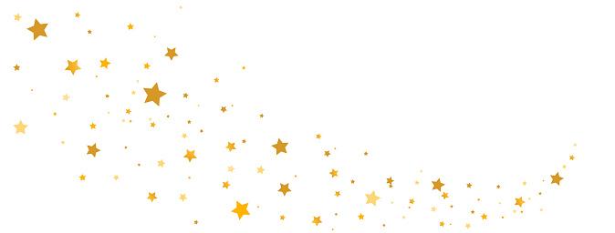 Golden stars composition on white background. Star trail shape. Glitter elegant design elements. Gold shooting stars. Magic decoration. Christmas texture. Vector illustration.