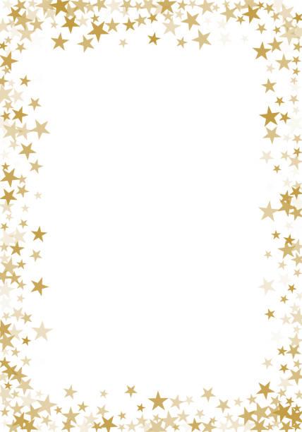Golden stars confetti glitter vector background for greeting card Golden stars confetti glitter vector background for greeting card backgrounds borders stock illustrations